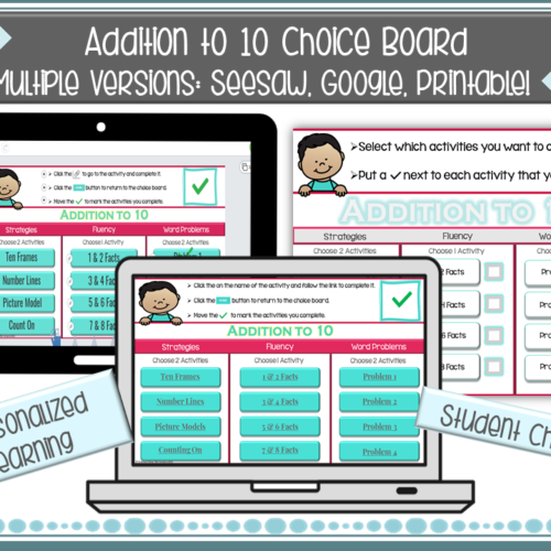 Addition to 10 Choice Board *Seesaw* Google *Printable*'s featured image