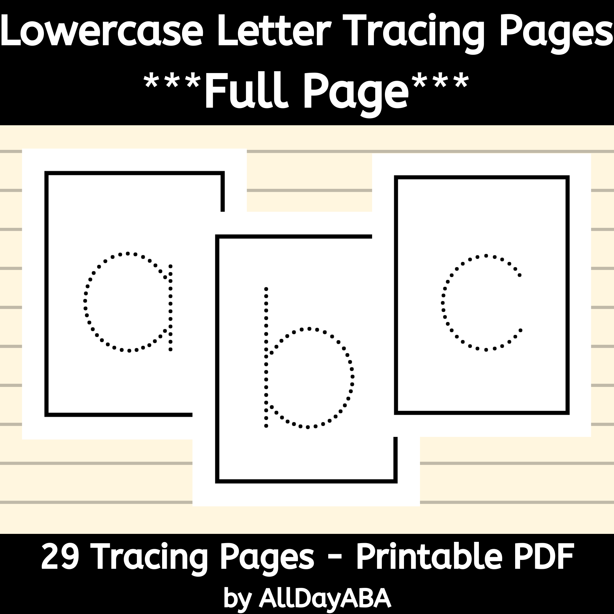 Alphabet Tracing Worksheets - Lowercase Letters - Full Page