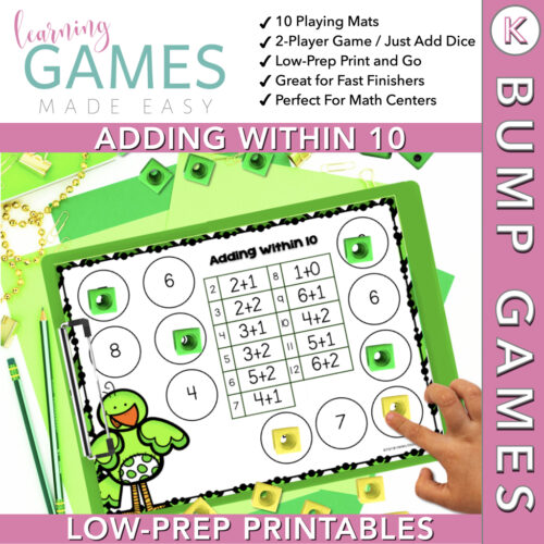 Kindergarten BUMP Math Game - March - Adding w/in 10