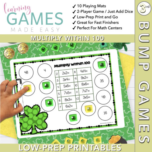 Third Grade BUMP Math Game - March - Multiply w/in 100's featured image