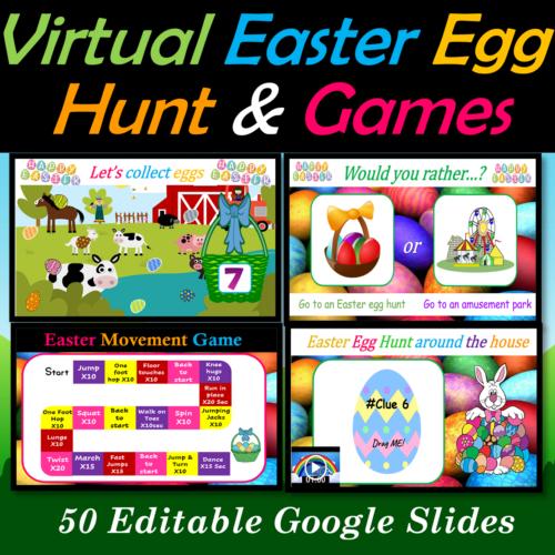 Virtual Easter Egg Hunt and Fun Friday Games bundle | Digital - 50 Google Slides's featured image