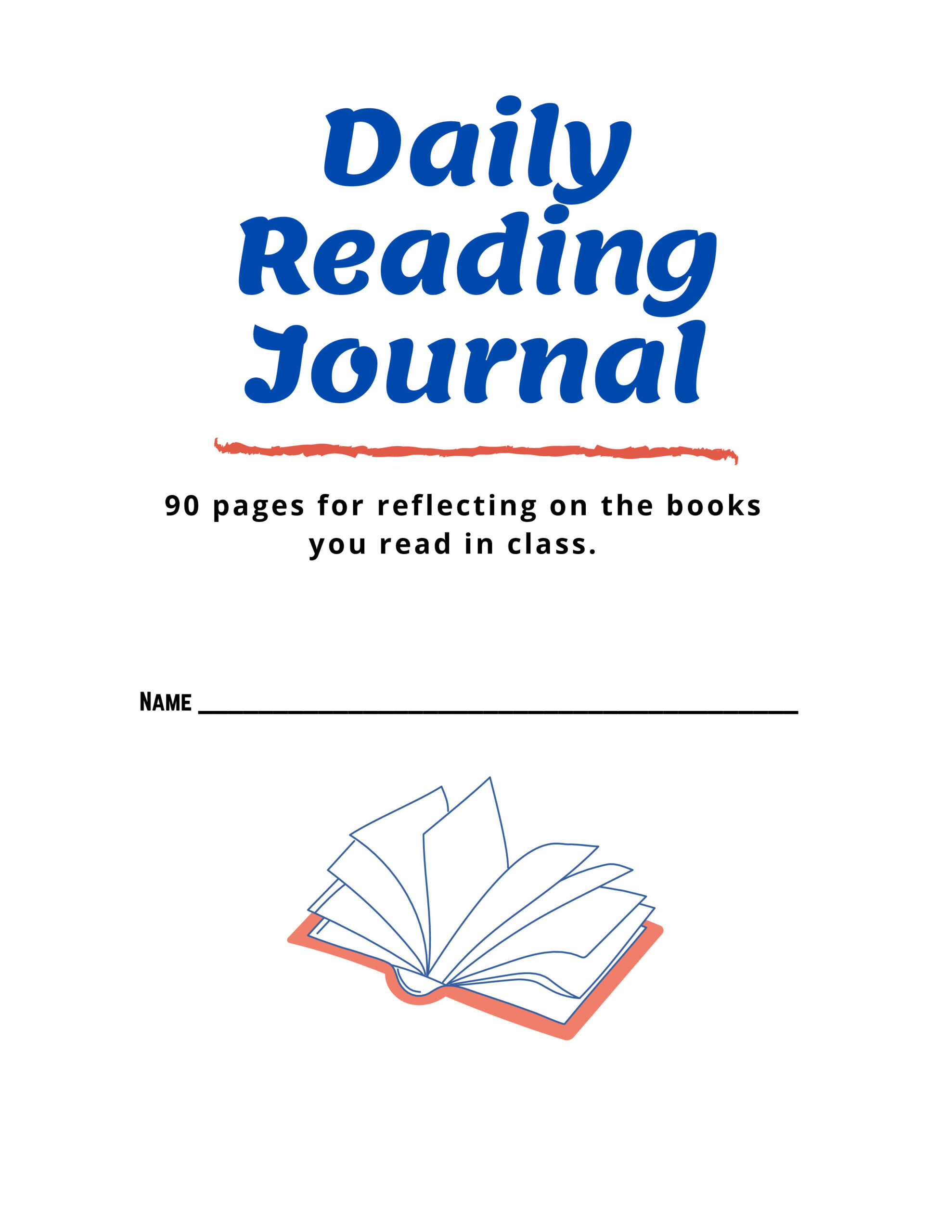 Daily Reading Journal Booklet (90+ pages)