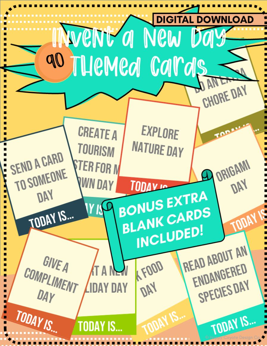 Invent a New Day 90 Fun Themed Cards   1st-4th Grade   Extracurricular Learning Resource   BONUS Blank Cards Included!   Digital Download   Unique Classroom and Homeschool Activity   Spark Creativity