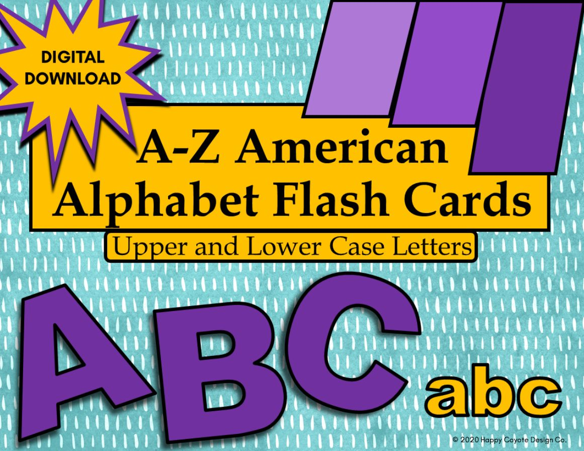 American Alphabet Flashcards Upper and Lower Case Letters Digital Download