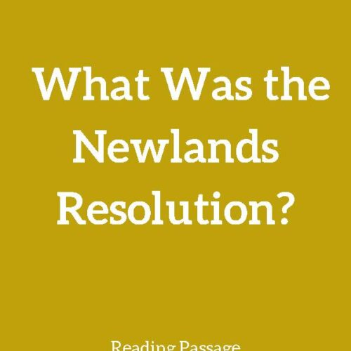 Newlands Resolution, Reading Passage