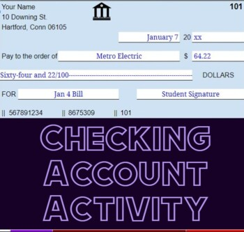 Checking Activity / Project w/ Video Instructions. Personal Finance / Banking