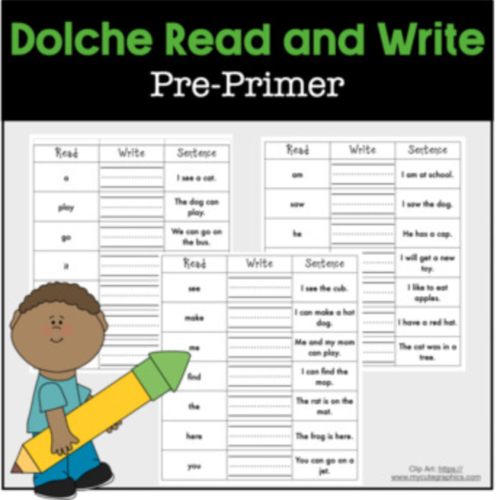 Read Write Sentence Dolche Pre-Primer