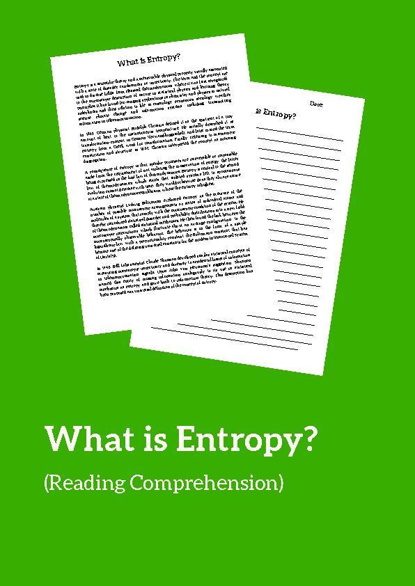 Entropy, Reading Passage
