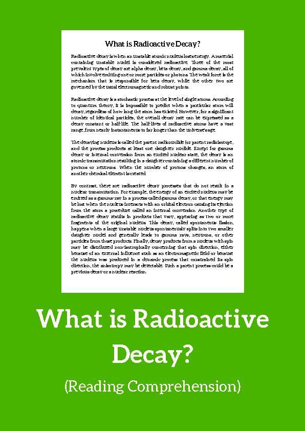 Radioactive Decay, Reading Passage