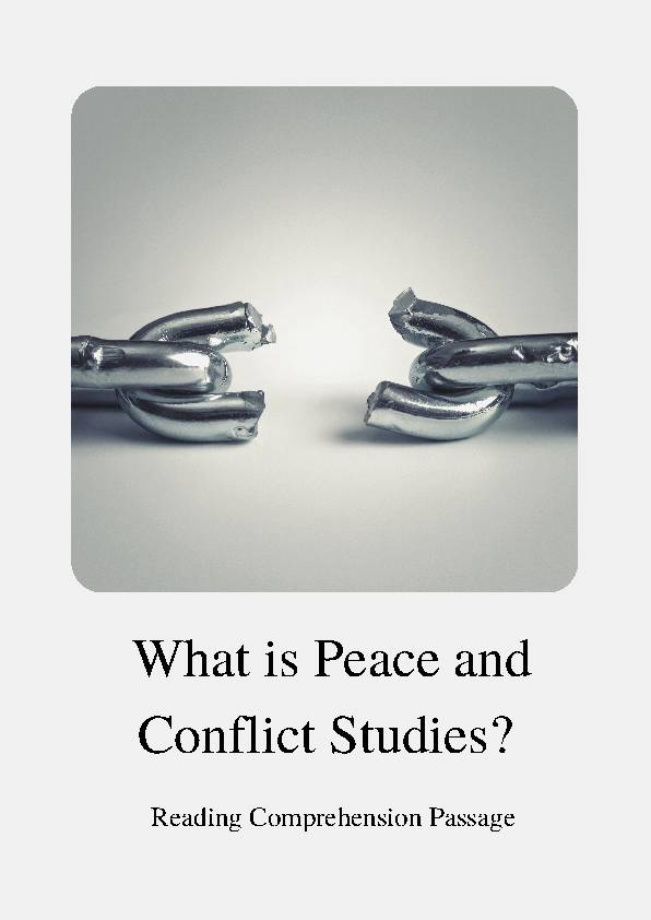 Peace and Conflict Studies, Reading Passage