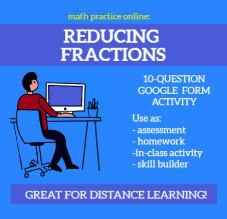 Reducing Fractions (Beginner) - Self-Scoring Google Forms Assessment / Homework
