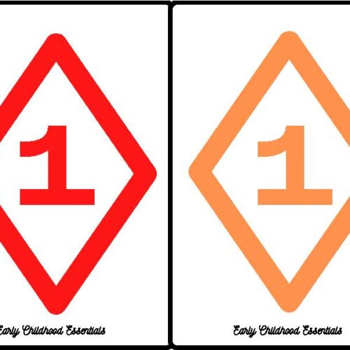 Diamond Flashcards / 10 colors and numbers 1-10 / 100 cards