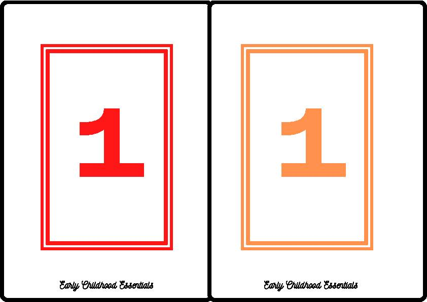 Rectangle Flashcards / 10 colors and numbers 1-10 / 100 cards