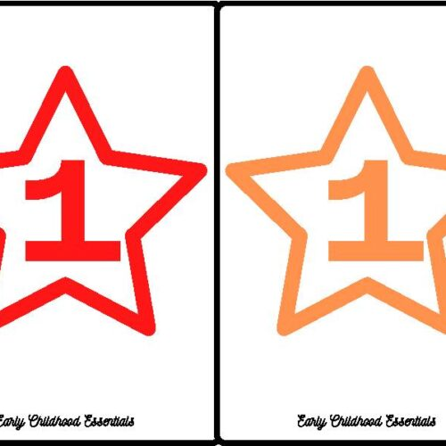 Star Flashcards / 10 colors and numbers 1-10 / 100 cards