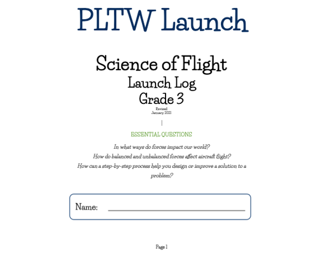 PLTW Science of Flight Launch Log