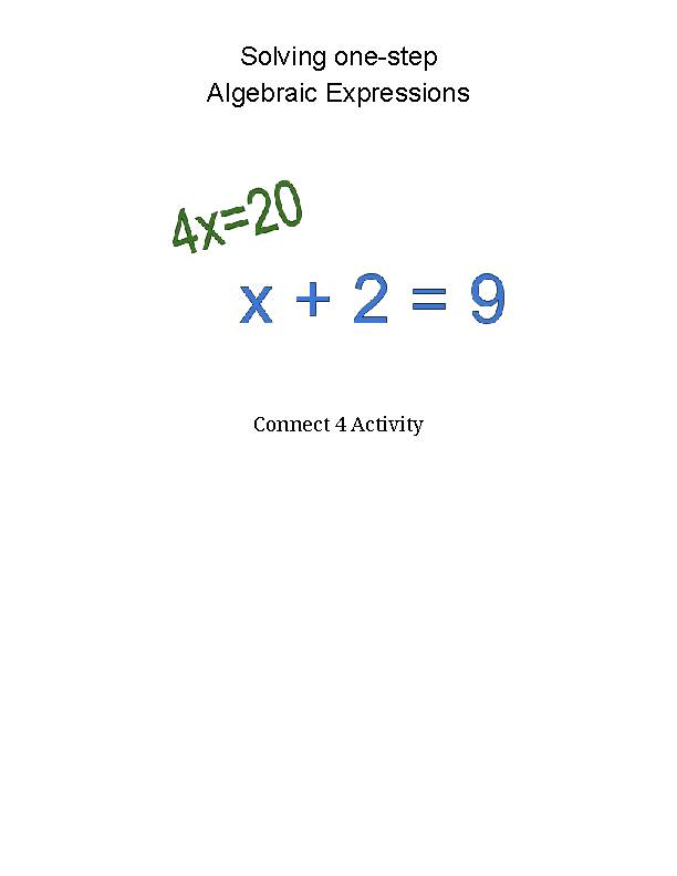 Solving one-step Algebraic Expressions - Connect 4
