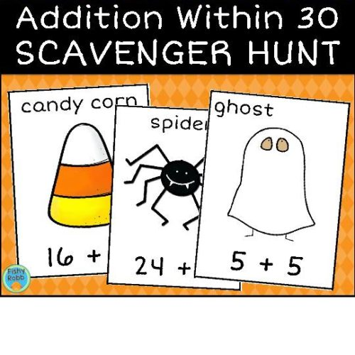 Halloween Math Facts Addition Within 30 Scavenger Hunt Activity