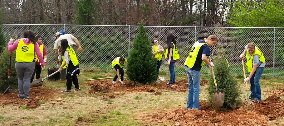 Cobb Trees Program Kids Planting