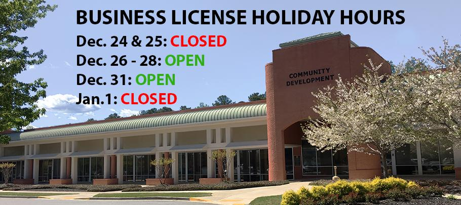 Business License Holiday Hours