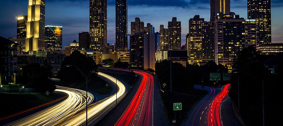 Atlanta Skyline and Highway at Night