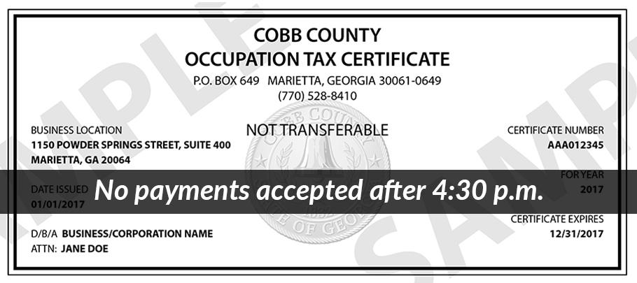 Business License Office: No payments accepted after 4:30 p.m.