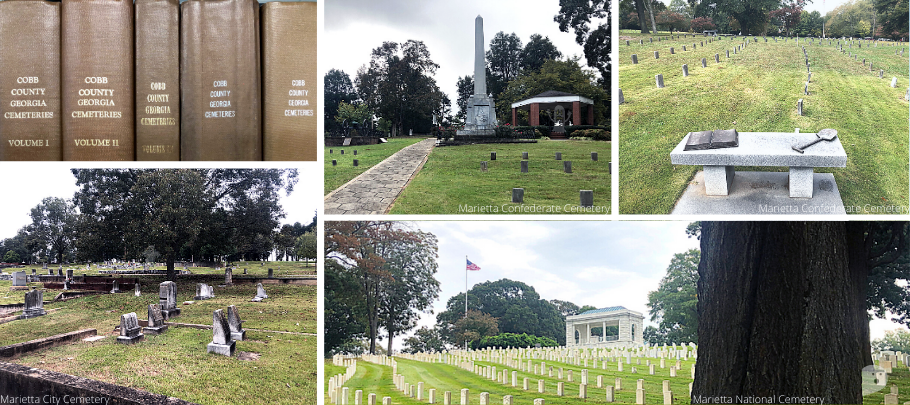 photo collage of Marietta City, National, and Confederate Cemeteries