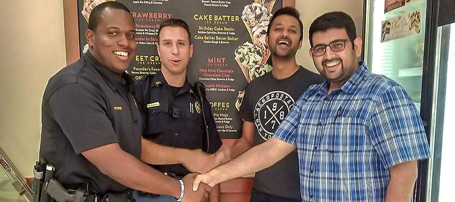 Officers with Community at Ice Cream Shop