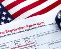 Voter Registration Application with American flag