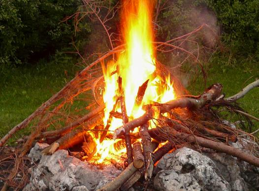 Large Bonfire with Branch Pile
