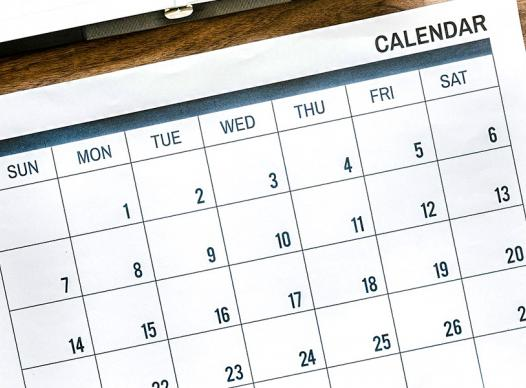Calendar on Table with Accessories