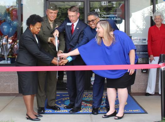 Cobb County Chairman Mike Boyce cuts the ribbon at new VA facility