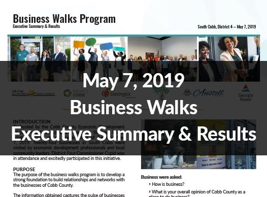 May 7, 2019 Business Walks Executive Summary & Results