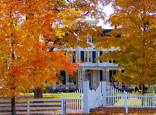 Old House with Autumn Leaves