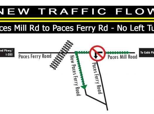 Picture of new traffic flow for Paces Ferry Road/Paces Mill Road intersection