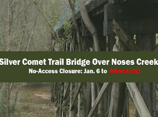 Picture of Silver Comet Trail bridge with closure dates through March 20, 2020