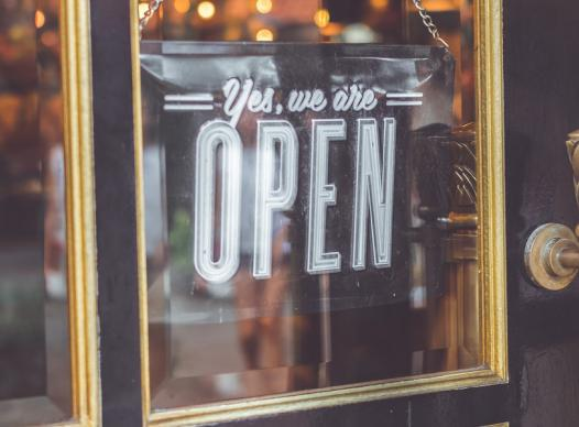 picture of open sign on business