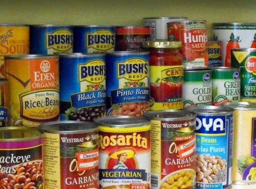 canned goods on a shelf