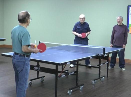 picture of seniors playing table tennis