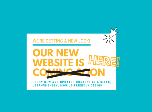 teal banner with gold text 'Our New Website is Here!'