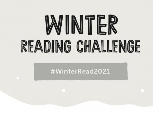 winter scene with text 'Winter Reading Challenge'