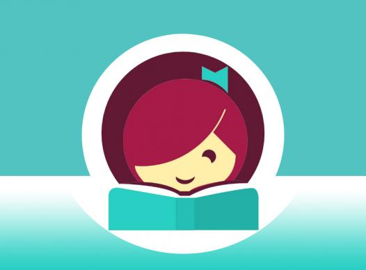 Libby app logo -- a cartoon image of a girl's face smiling behind a book -- on top of a teal and white background