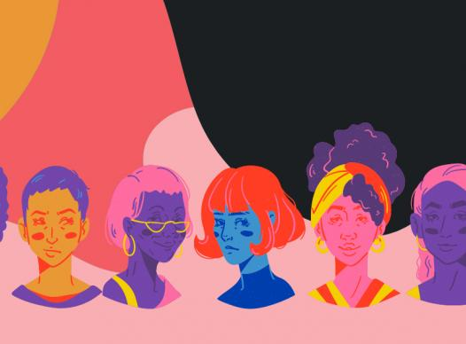 a colorful background with a row of illustrated busts of diverse women
