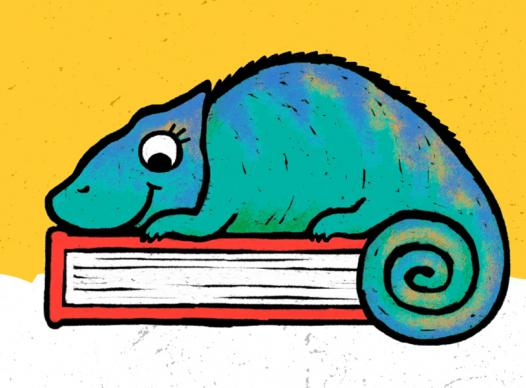 a blue and teal cartoon chameleon sitting on top of a red book