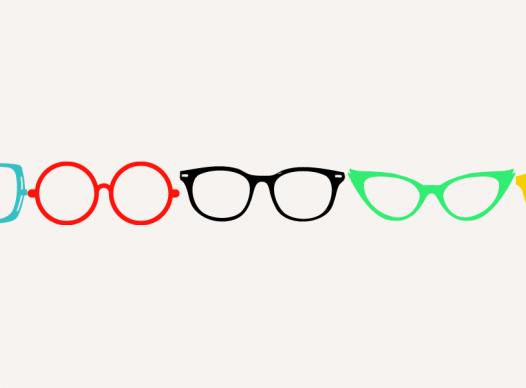 a row of colorful graphics of various glasses frames