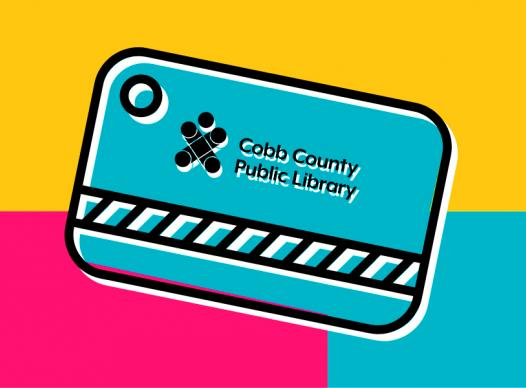 background of rectangular blocks of yellow, magenta, and cyan with a cyan library card in the middle