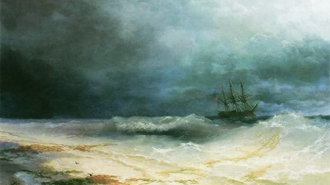 """shipstormpainting Our faith is in Jesus Christ, the """"…the way, and the truth, and the life; no one comes to the Father, but by ."""" (Jn. 14:6) The Church proclaims Jesus Christ and administers the Sacraments that are the rivers of God's grace for the salvation of souls. The Church is one, holy, Catholic, and apostolic – with Mary as the sinless model of the Church. So we should never criticize Holy Mother Church because she is the indispensable instrument of our salvation."""