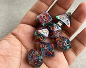 ANarch Dnd DIce SEt For DUngeons And DRagons RPg, Polyhedral DIce Set For PAthfinder TTRPG Made From Recycled Resin Pieces INked In GOld