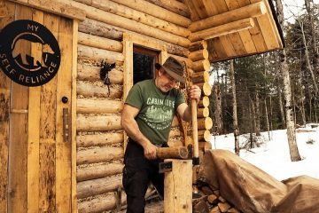 Traditional Woodworking using Hand Tools: Finishing Interior of an Off Grid Log Cabin DIY Kitchen