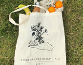 100% Recycled Cotton Tote Bag eco friendly reusable shopping bag