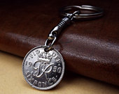 1950 OR 1960 Short Chain British Sixpence Coin Keyring, Recycled Upcycled Cheap Gift, Birth Year Keepsake 60th 70th Birthday Gift